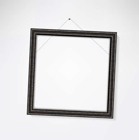 sidelong: Classic empty picture frame hang crooked on the wall Illustration