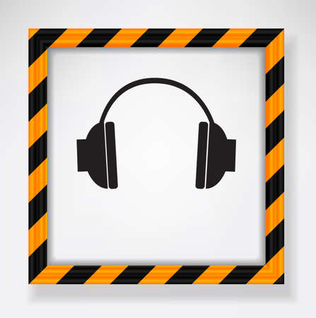 Picture frame with headphones and warning pattern Stock Vector - 25036595