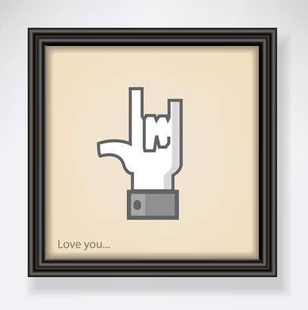 universal love: Marco negro clásico con la muestra del amor, símbolo universal de la mano