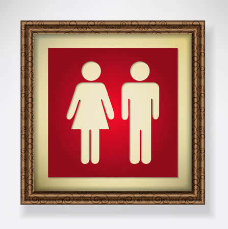 public restroom: Elegant picture frame with toilet sign