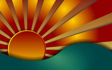 profundidad: Salida del sol colorida caliente, ilustraci�n con la profundidad Vectores