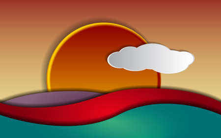 depth: Sunset and colorful waves, illustration with depth