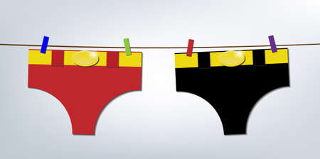 Super heroes pants hanging on clothesline, laundry day Vector