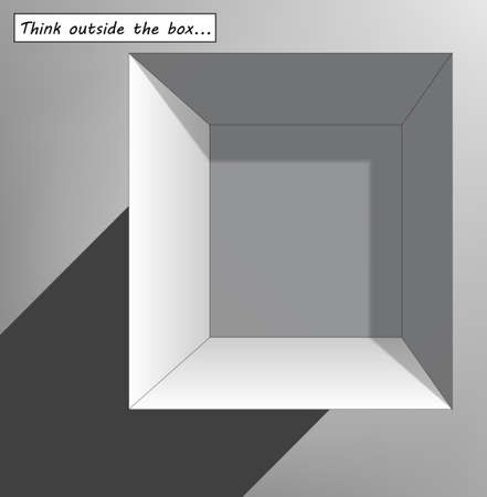 think out of box: Think outside the box with open grey box