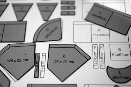 modules: Room planning with cut out scale modules Stock Photo