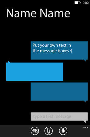 telephonic: Place your own text in the message boxes, messaging on mobile phones