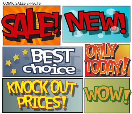 Set of six sales effects in comic style Vector