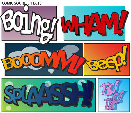 boing: Set of six sound effects in comic style