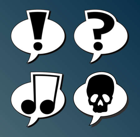 note of exclamation: Set of speech bubbles with symbols Illustration