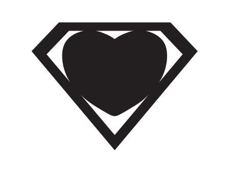 a big black heart shaped like a superhero shield, symbol for strong love Illustration