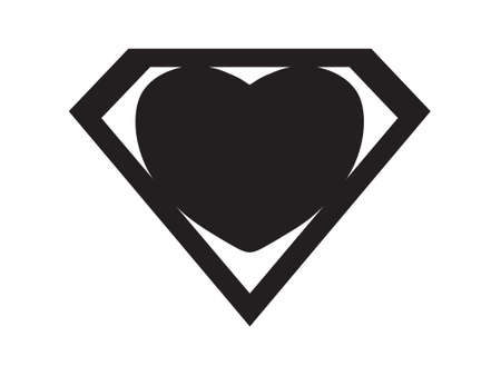 a big black heart shaped like a superhero shield, symbol for strong love Illustration