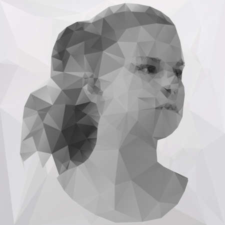 abstract portrait: Beautiful young woman consisted of triangles, polygonal
