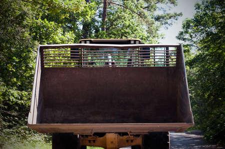 machinery machine: Close up of wheel loader bucket Stock Photo