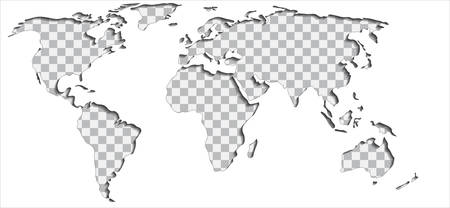 Put Your Text Or Picture Behind The Cut Out World Map, Vector