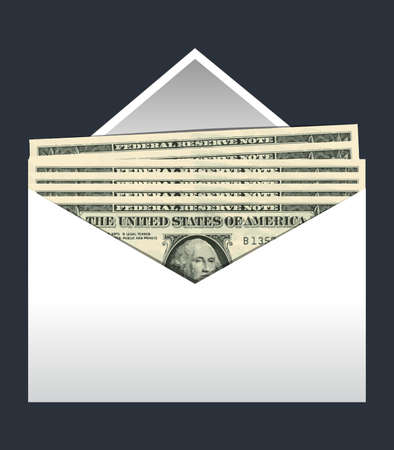 paper currency: Close up of envelope with us dollars, vector illustration