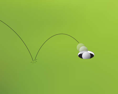 putting green: Hole in one, close up vector illustration