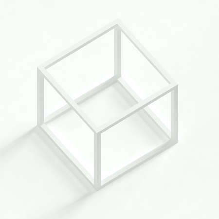 against white: Empty 3d cube against white background Stock Photo