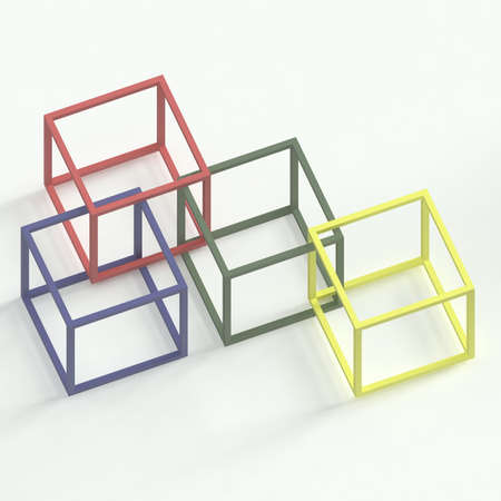 against white: Empty colourful 3d cubes against white background Stock Photo