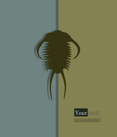 arthropods: Card with trilobite with depth Illustration