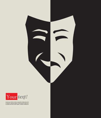 caras tristes: Tarjeta con la máscara triste feliz plana Vectores