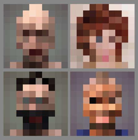 Visage de pixel anonyme adulte, jeu d'illustrations vectorielles