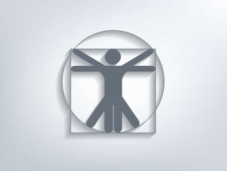 Stick figure as Leonardo Da Vinci´s Vitruvian Man. Symbol for anatomy vector with depth