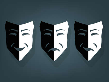 Black and white theater masks, vector with depth