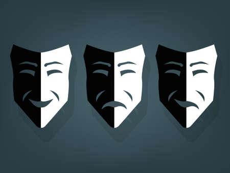 Maschere teatrali in bianco e nero, vettore con profondità
