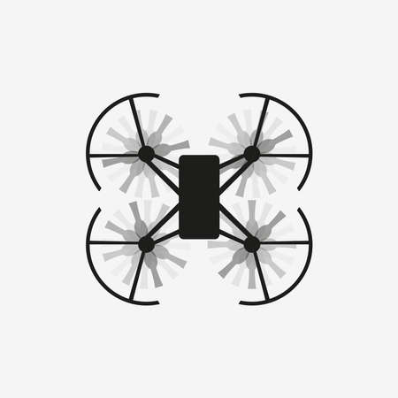 Moving drone, vector in top view