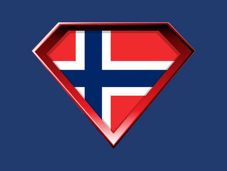 Norwegian flag in super hero shield