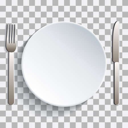 Mettez votre photo derrière une assiette et des couverts Vecteurs