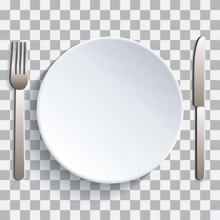 Pon tu foto detrás de plato y cubiertos Ilustración de vector