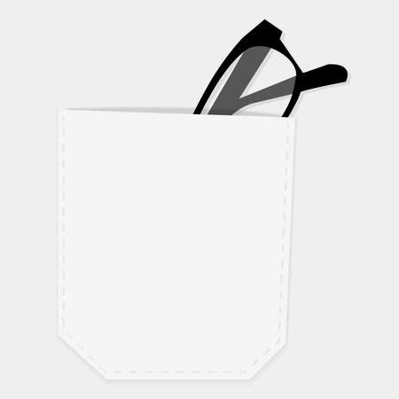 White shirt pocket with glasses, symbol for white-collar worker, minimalistic vector