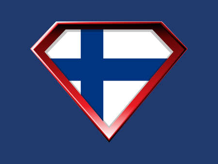Finnish flag in super hero shield