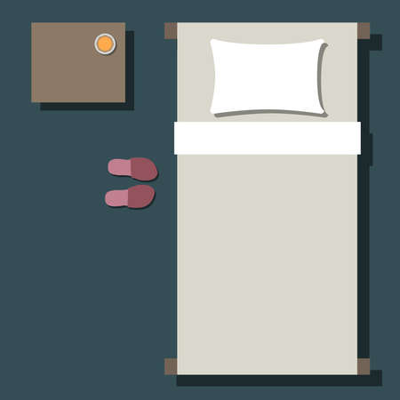 Top view of bed with slippers, minimalistic vector
