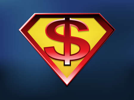 Dollarsign in superhero style, vector with depth