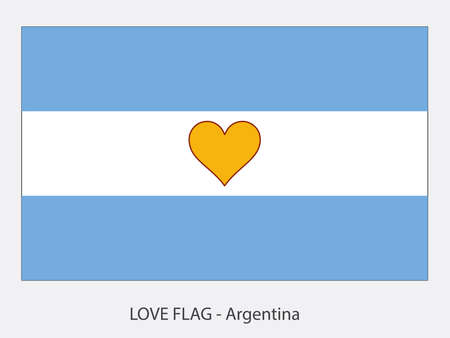 I love Argentina, vector flag with heart sign symbolizing love for that country