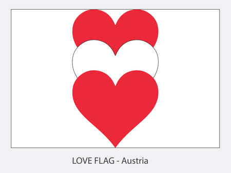 I love Austria, vector flag with heart sign symbolizing love for that country