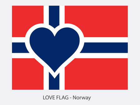 I love Norway, vector flag with heart sign symbolizing love for that country Ilustrace