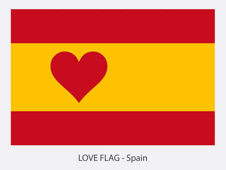 I love Spain vector flag with heart sign symbolizing love for that country