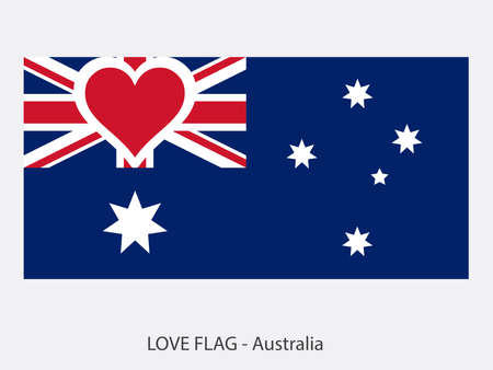 I love Australia, vector flag with heart sign symbolizing love for that country