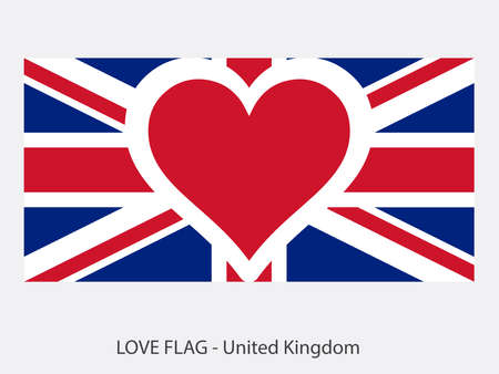 I love United Kingdom, vector flag with heart sign symbolizing love for that country