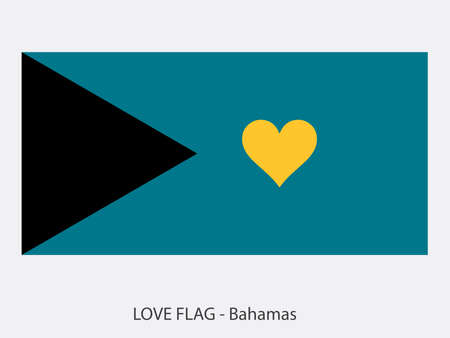 I love The Bahamas vector flag with heart sign symbolizing love for that country