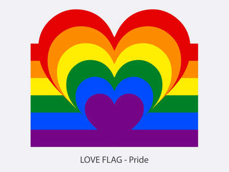 I love Pride, vector flag with heart sign symbolizing love for the Pride movement Illustration