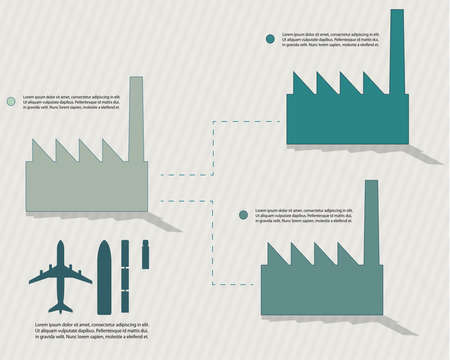 Transportation in manufacturing, infographic vector with transport objects