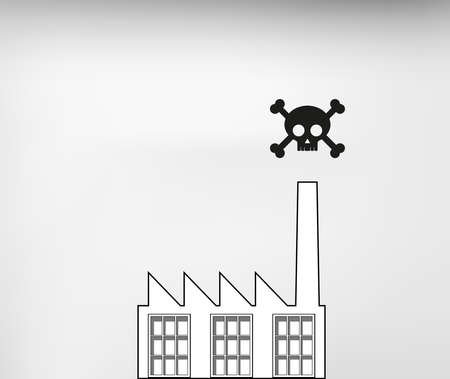 Toxic air pollution from dirty industry chimney with scull symbol