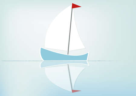 Sailboat reflected in the water, vector background with copy-space