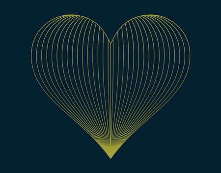 Golden heart with blend effect, vector illustration symbols