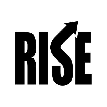 Rise text logotype vector template, black vector illustration, symbol for increase, flow, advance and move up