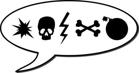 expletive in speech bubble, vector illustration symbol, symbol swearword like skull, bomb and bones